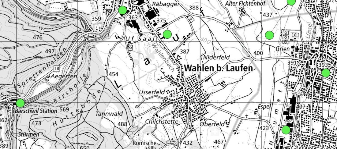5G-Antennen rund um die Gemeinde Wahlen. Braucht es noch mehr Antennen in Wahlen Bildquelle: map.geo.admin.ch / BAKOM